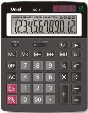 Калькулятор настольный Uniel UD-11, 260 гр., картонная коробка