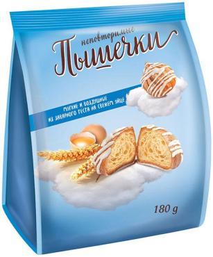 Печенье Заварные пышечки в белой глазури заварное, Гранъ, 180 гр., флоу-пак