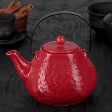 Чайник заварочный Доляна Рябь 900 мл. с металлическим ситом красный