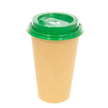 Крышка для гор. напитков с откидным питейником 90 мм, зеленая глянцевая