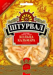 Кольца кальмара соленые, Штурвал, 36 гр, пакет