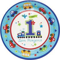 Тарелка 25 см., 8 штук Amscan Первый день рождения Мальчик