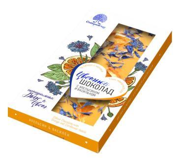 Шоколад цветной с апельсином и васильком, Сибирский кедр, 100 гр., картон