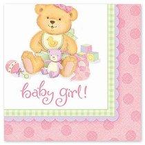 Салфетки Amscan Медвежонок-девочка трехслойные