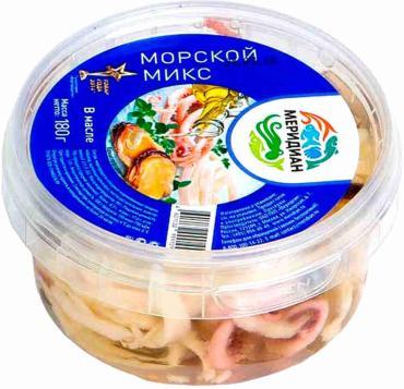 Коктейль из морепродуктов Меридиан Морской микс в рассоле