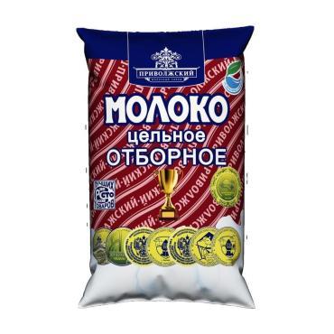 Молоко отборное 3,4% - 6%,  Приволжский МЗ, 900 гр., пакет