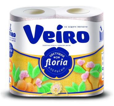 Туалетная бумага Veiro Floria Цветущий апельсин 2 слоя 4шт.