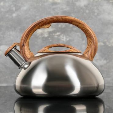 Чайник со свистком Доляна Расцвет, фиксированная ручка, с индикатором нагрева