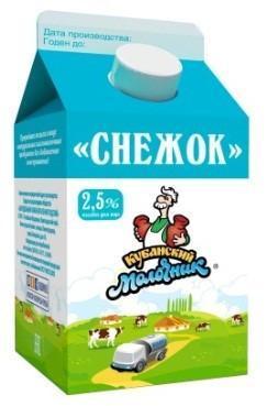 Кисломолочный напиток сладкий 2,5 %, Кубанский молочник Снежок, 450 гр., тетра-пак