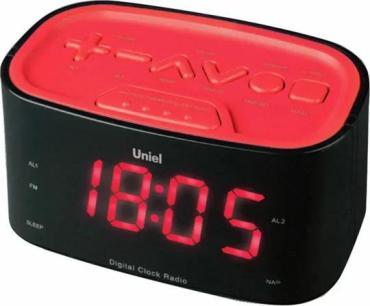 Часы, будильник с отложенным сигналом, Uniel UTR-33RRK, 400 гр., картонная коробка