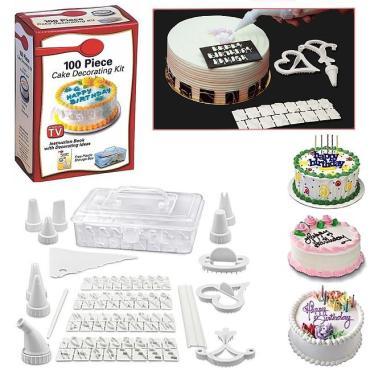 Набор для украшения выпечки из пластика - 3 ножа, трафарет, мешочек с кольцом, формочки, кондитерские мешки для глазури, корзинка, универсальный соединитель, TV, 100 Piece, Cake Decorating Kit, 360 гр., картонная коробка