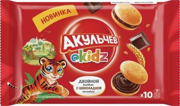 Пирожное Акульчев Kids Двойной бисквит с шоколадной начинкой, 120 гр., флоу-пак