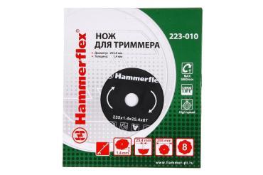 Нож для триммера 223-010 закаленная сталь, круглый, 8 зубьев, толщина 1,4 мм., d=255 мм., Hammer Flex, 550 гр., блистер