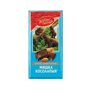 Шоколад Мишка косолапый с орехами и вафлями, Красный Октябрь, 75 гр., обертка фольга / бумага