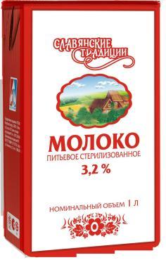 Молоко отборное ультрапастеризованное 3,4%-6%,  Славянские традиции, 1 л., тетра-пак