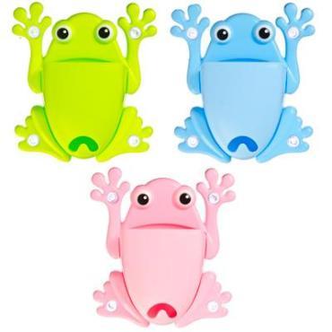 Подставка для зубных щеток на присоске, пластик, 13х15см, в виде лягушки, 3 цвета