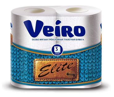 Туалетная бумага Veiro Elite 3 слоя 4шт.