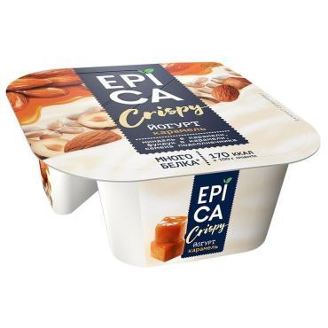 Йогурт Crispy Карамель, семечки, орехи 10,2%, Epica, 140 гр, ПЭТ