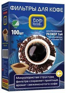 Фильтры Top House для кофе неотбеленные 1х4, 100шт
