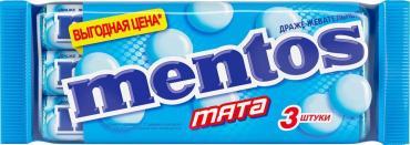 Жевательное драже Mentos Мята 3 шт111 гр., флоу-пак