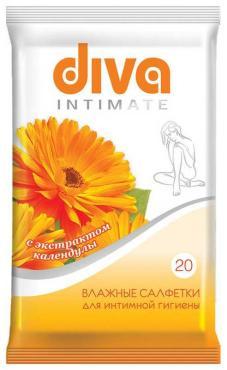 Салфетки влажные Diva Для интимной гигиены С экстрактом календулы 20шт.