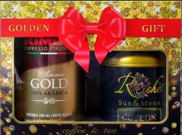 Подарочный набор Golden Gift: Кофе Kimbo Gold, молотый+ Чай Riche Natur Цейлон