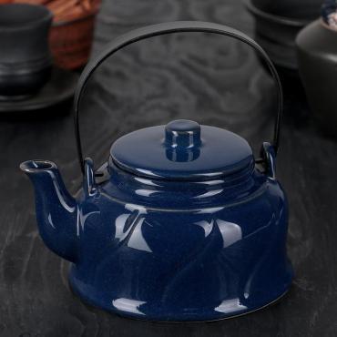 Чайник заварочный Доляна Вечер 500 мл. с металлическим ситом синий
