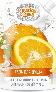 Гель для душа Апельсиновый фреш, Особая Серия Освежающий коктейль, 500 мл., пластиковый флакон с дозатором