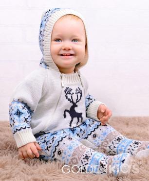 Комбинезон для мальчика, 20-50-56, белый, голубой, Golden Kids, Твигги, Россия, пластиковый пакет