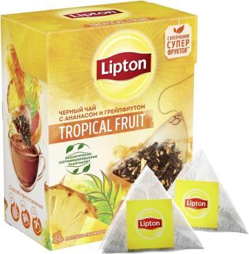 Чай черный в пирамидках с ананасом и грейпфрутом Lipton Tropical Fruit Tea, 36 гр., картонная коробка