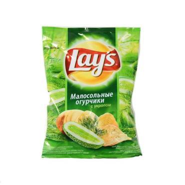 Чипсы Lays малосоленные огурчики и укроп, Lay's, 80 гр., флоу-пак