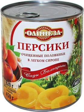 Персики очищенные половинки в легком сиропе Олинеза, 820 гр., жестяная банка