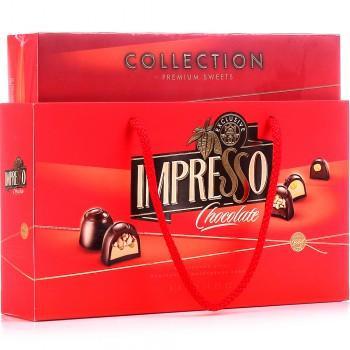 Подарочный набор шоколадных конфет премиум красная, в сумке, Спартак, Беларусь,  Импрессо, 424 гр.,  картонная коробка