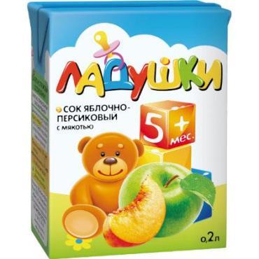 Сок Ладушки Яблочно-грушевый осветленный 5+