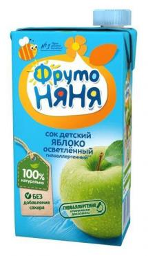 Сок ФрутоНяня Яблочный осветленный с 3 лет