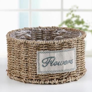 Кашпо плетеное Доляна Цветы круглое с плетенкой коричневое