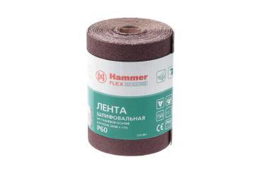 Лента шлифовальная в рулоне 115х5м P60 тканевая основа Hammer Flex 216-001, 580 гр., бумажная упаковка