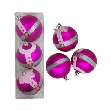 Елочные украшения Розовый диаметр шара 8 см, 3 шт