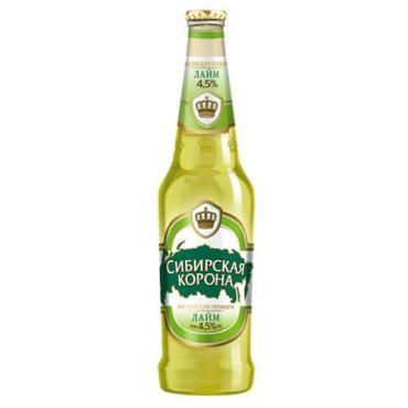 Пивной напиток Сибирская корона со вкусом лайма 3,5% нефильтрованный осветленный пастеризованный