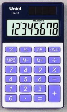 Калькулятор карманный синий UK-18 Uniel, 60 гр., картонная коробка