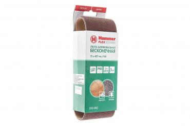 Лента шлифовальная 75 х 457 Р 60 по 3 шт. Hammer Flex 212-002, 130 гр., бумажная упаковка