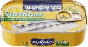 Сардины в растительном масле с лимоном Delmonaco, 125 гр., жестяная банка