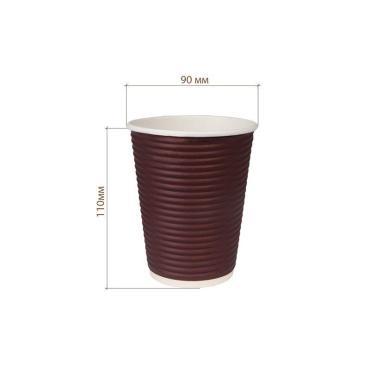 Бумажный стакан, 350 мл (макс. 400 мл), двухсл., гофр., шоколадный