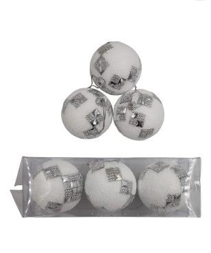 Елочные украшения Ромб диаметр шара 8 см, 3 шт