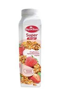 Йогурт питьевой Клубника пророщенные семена 1,3 %, Вкуснотеево Super, 320 гр., Пластиковая бутылка