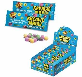 Конфеты-драже кислые мины Zed Candy, 35 гр., сашет