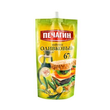 Майонез Оливковый 67%, Печагин, 420 мл., дой-пак с дозатором