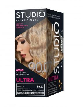 Крем-краска для волос для седых волос, тон 90.07 Саванна, Studio Professional Ultra, 115 мл., картонная коробка