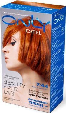 Стойкая краска-гель для волос с сывороткой 7/44 Русый медный интенсивный, Estel Only, 232 гр., картонная коробка