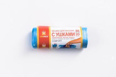 Пакеты для мусора с ушками 35 л., 20 шт., голубые Ufapack, бумажная упаковка